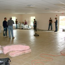 """5/4/12 The tile in the fellowship hall–being """"fellowshipped"""" on already."""