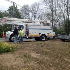 5/8/12 National Grid guys installing the electric pole. Yay!