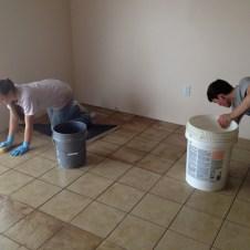 5/22/12 Hannah & Brannon scrubbing grout
