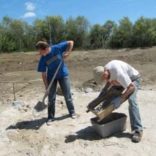 5/7/12 Michaela & Matt sifting the sand for mortar
