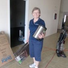 5/26/12 Mrs. Goodfellow bringing in nursery supplies.