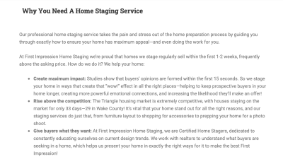 Copy for staging company website