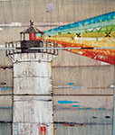 Lighthouse painted on weathered wood.