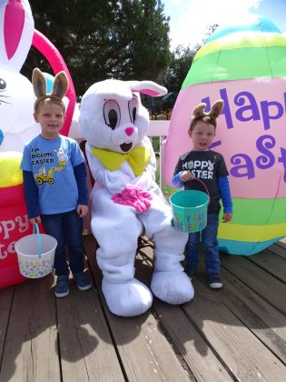 <p><p>William and Ben Hodgins with the Easter Bunny in Lake Helen</p></p><p></p>