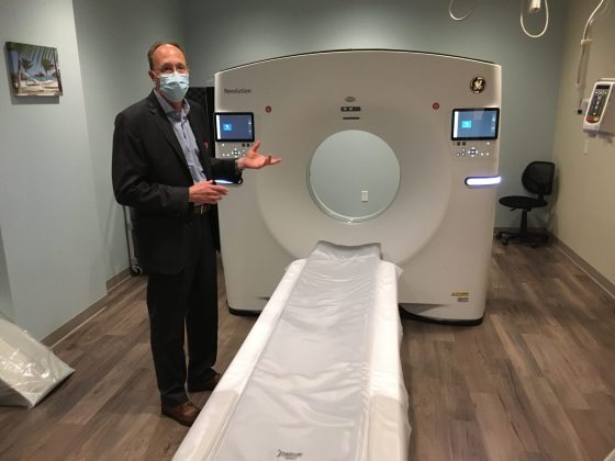 <p><p><strong>IN CASE YOU EVER NEED IT</strong> — James Markvicka, of GE Healthcare, shows the latest in CT scanning available at Radiology Associates in Deltona. Such machines in years gone by required a patient to lie perfectly still for more than a half-hour, but today's CT machines can accomplish the same thorough imaging in as little as a second.</p></p><p></p>