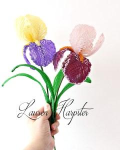French Beaded Irises by Lauren Harpster