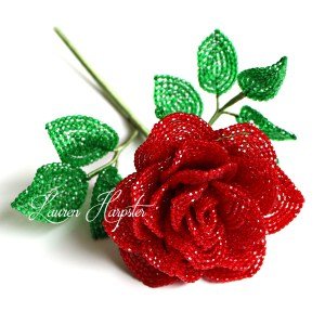 French Beaded faceted glass rose by Lauren Harpster