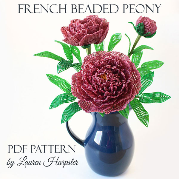 French Beaded Peony Master Class by Lauren Harpster