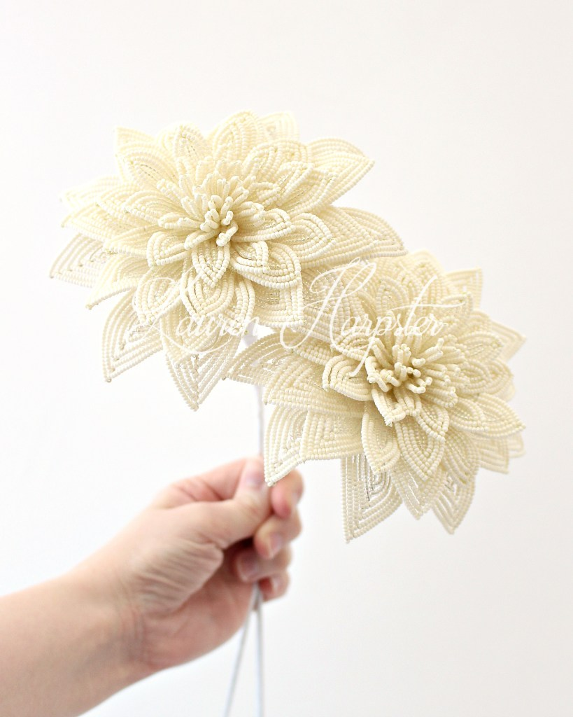 French Beaded Ivory Dahlias by Lauren Harpster
