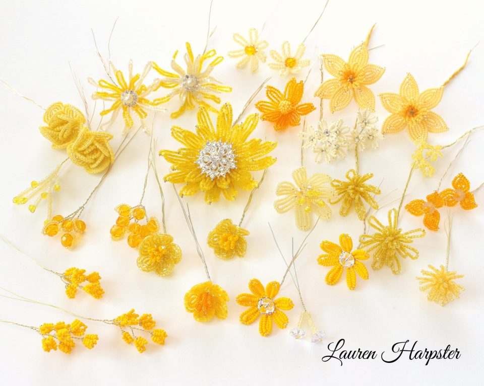 Yellow French Beaded Flowers by Lauren Harpster