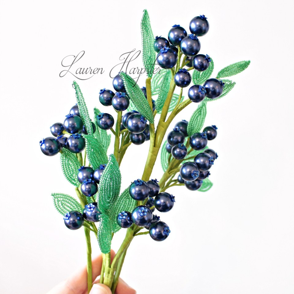 French Beaded Blueberries by Lauren Harpster