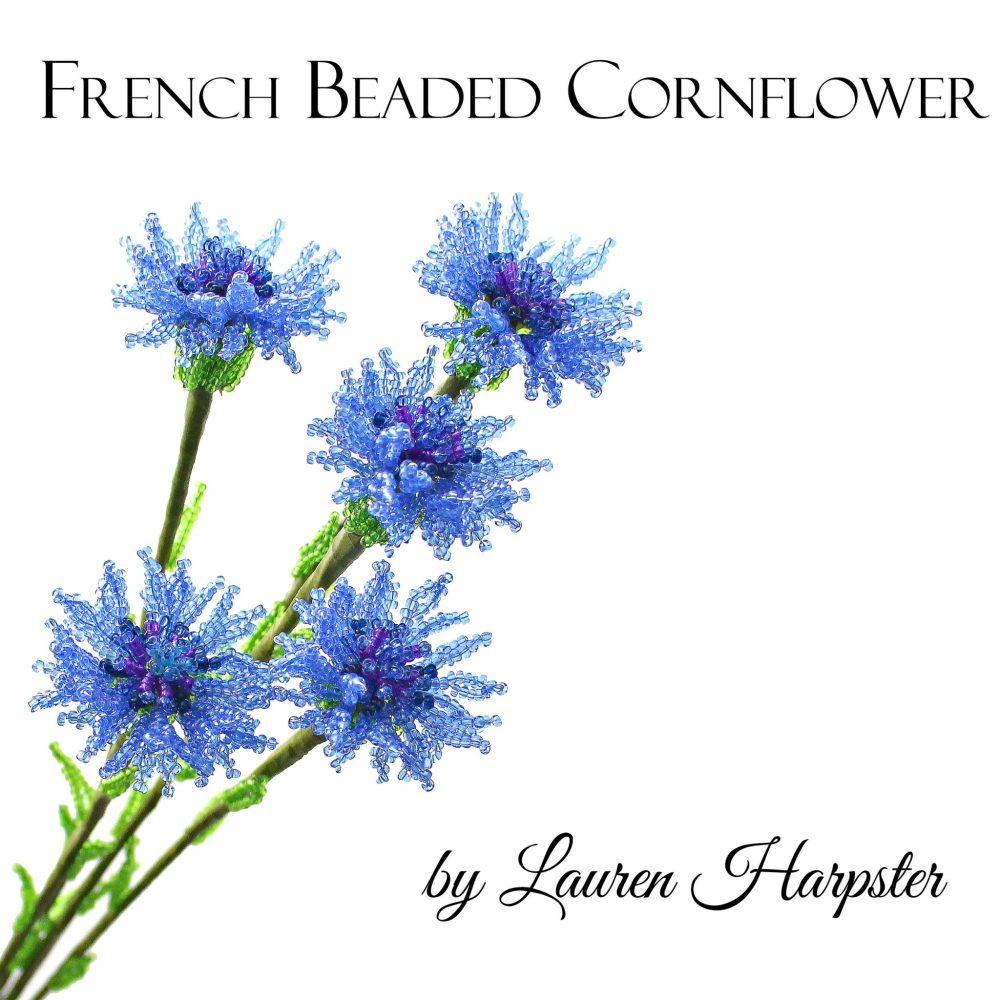 Free French Beaded Cornflower Pattern by Lauren Harpster