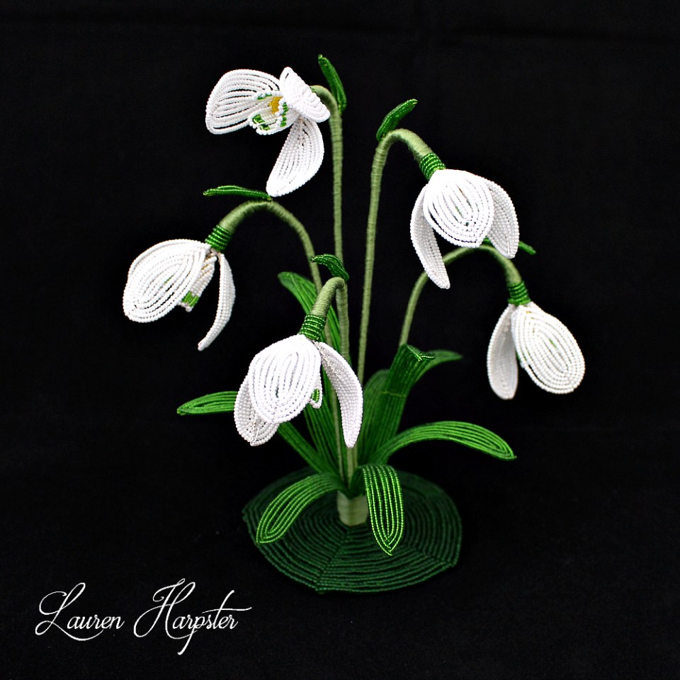 French Beaded snowdrops by Lauren Harpster