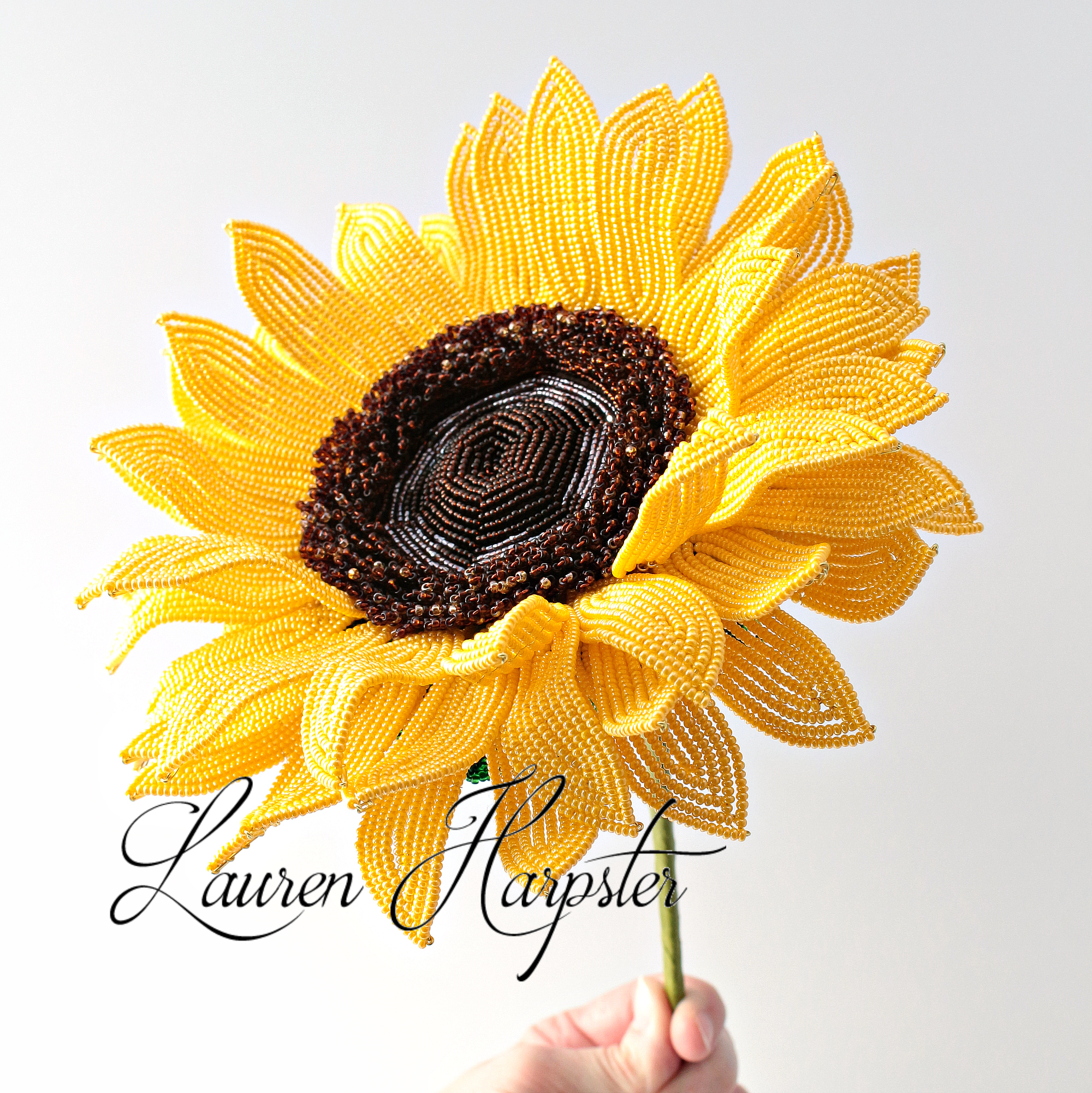French Beaded Sunflower by Lauren Harpster