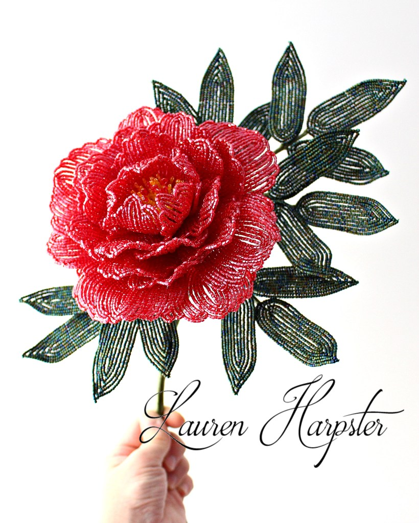 French Beaded Peony by Lauren Harpster