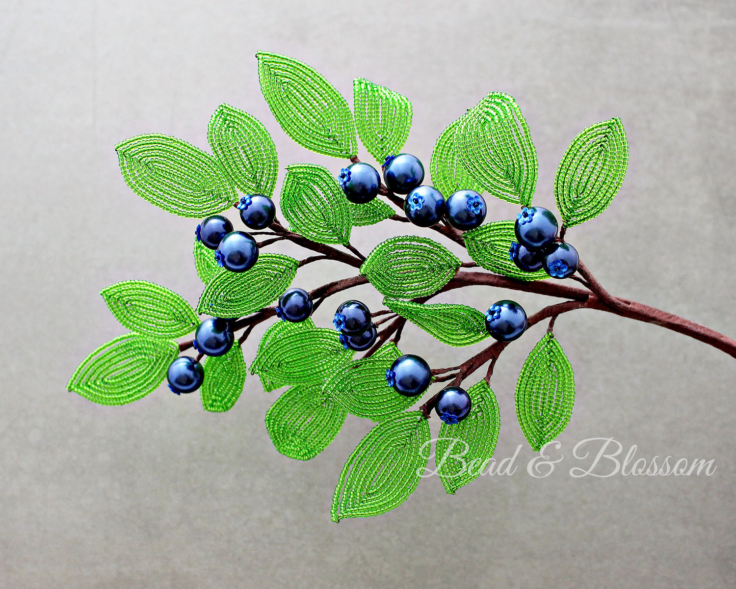 French Beaded Blueberry pattern by Lauren Harpster and Suzanne Steffenson