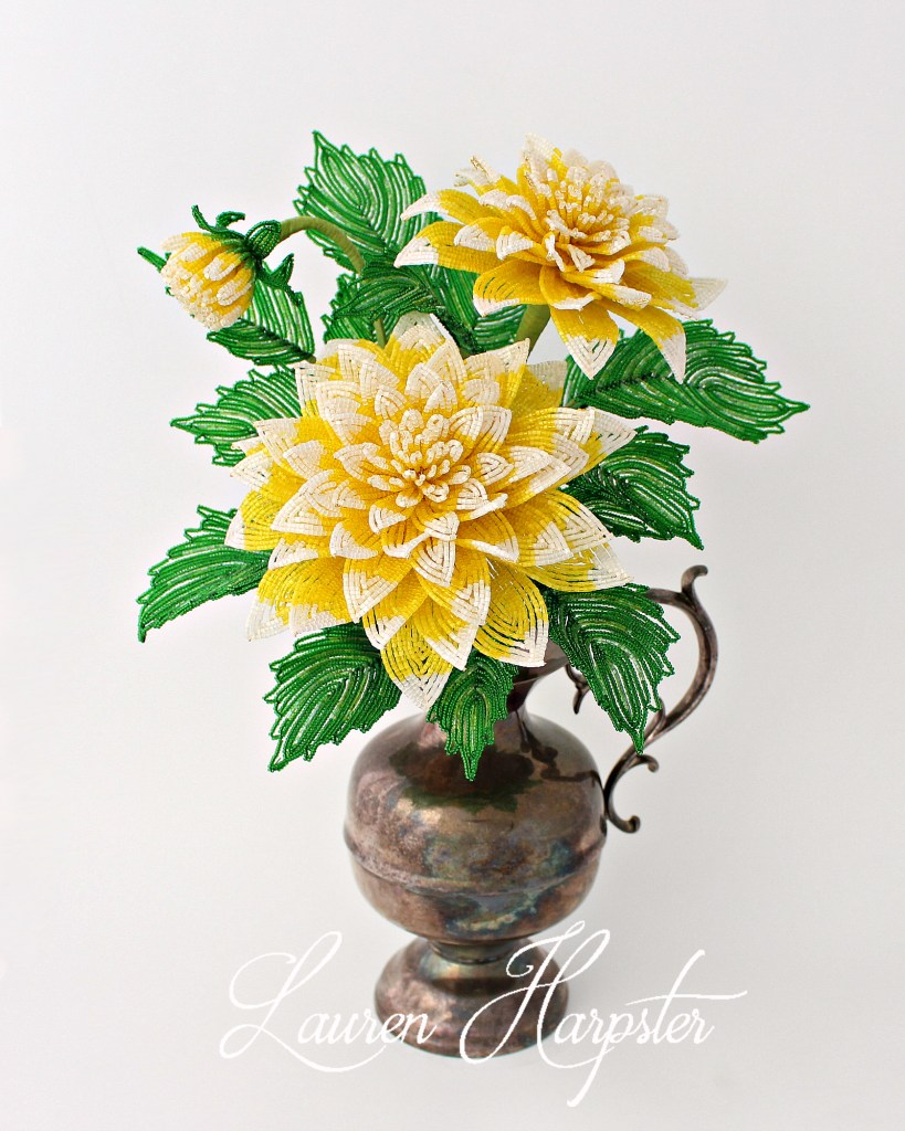 French Beaded Dahlias by Lauren Harpster