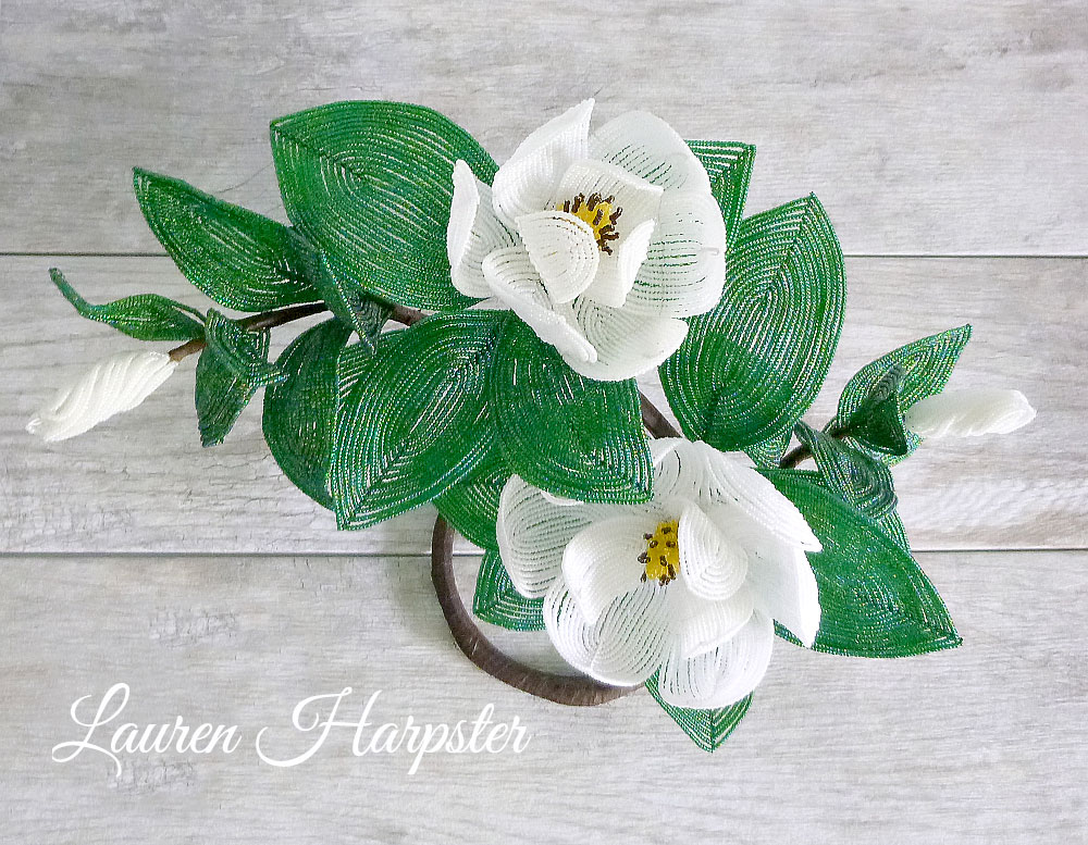 French Beaded Southern Magnolia Sculpture by Lauren Harpster
