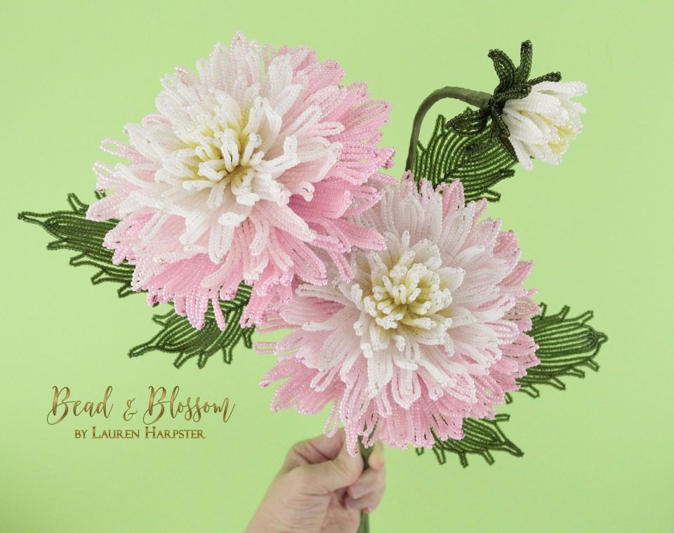 French Beaded Split-tip Dahlias by Lauren Harpster