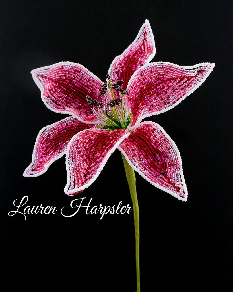 French Beaded Stargazer Lily by Lauren Harpster