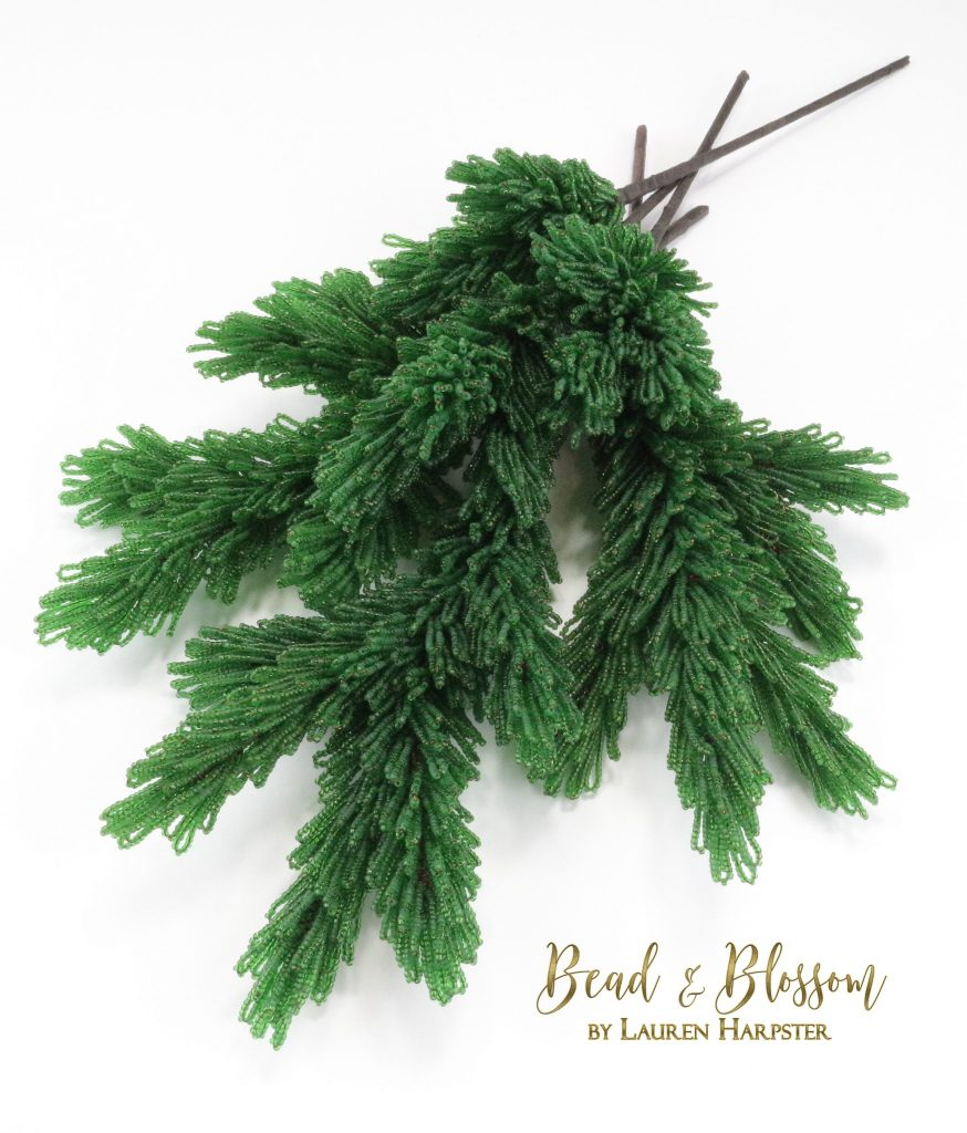 French Beaded Fir Branches by Lauren Harpster
