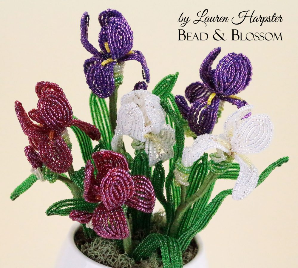 Miniature French Beaded Iris pattern by Lauren Harpster