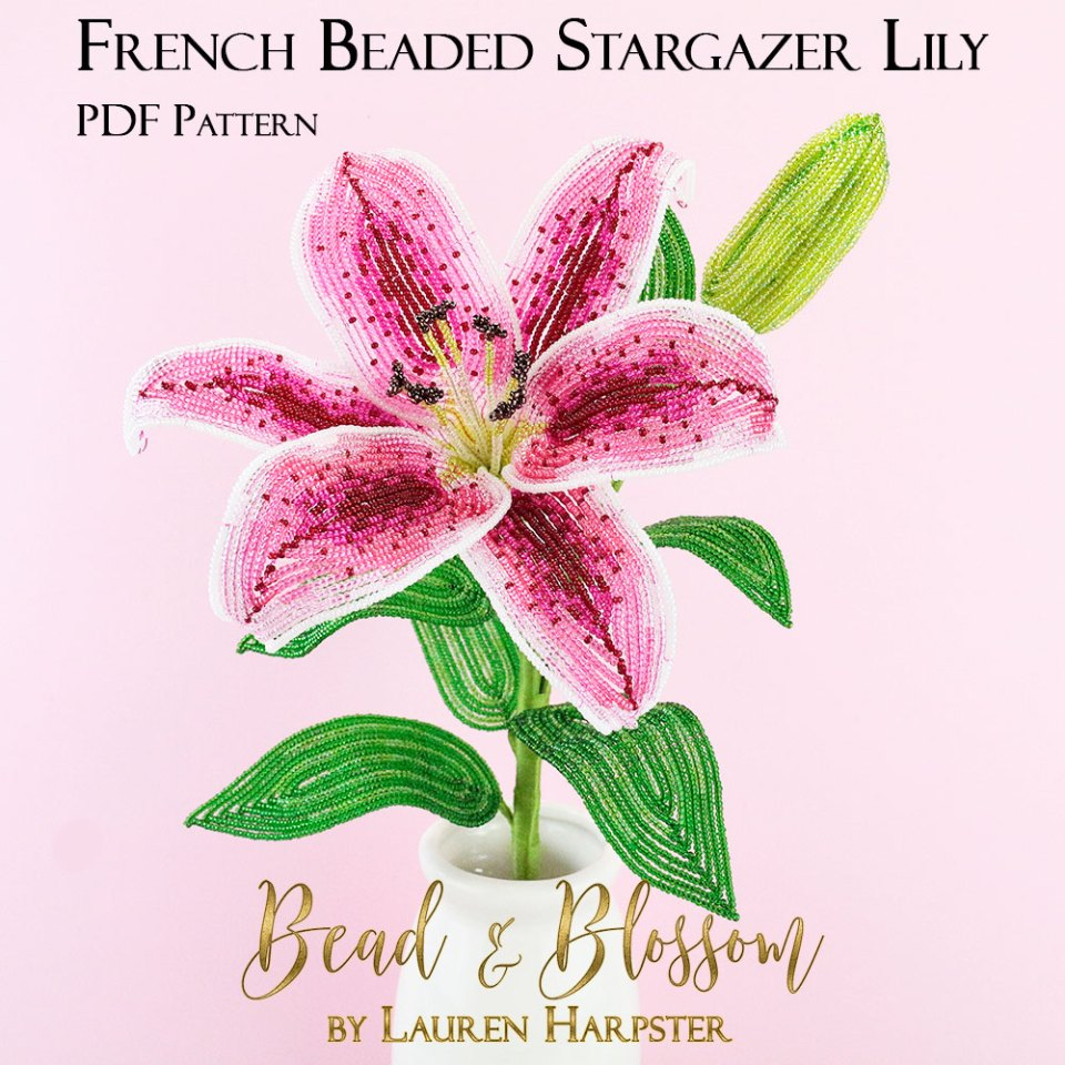 French Beaded Stargazer Lily pattern by Lauren Harpster