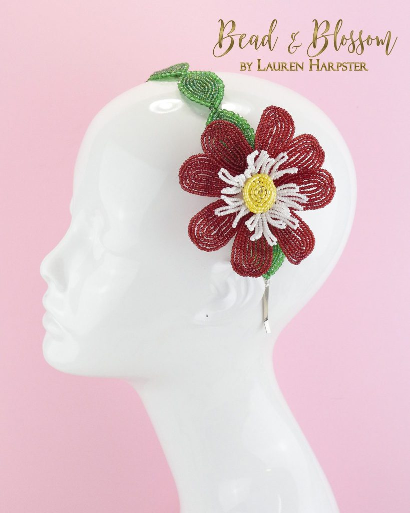 Prototype French Beaded Dahlia headband