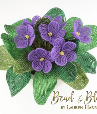 French Beaded African Violets by Lauren Harpster