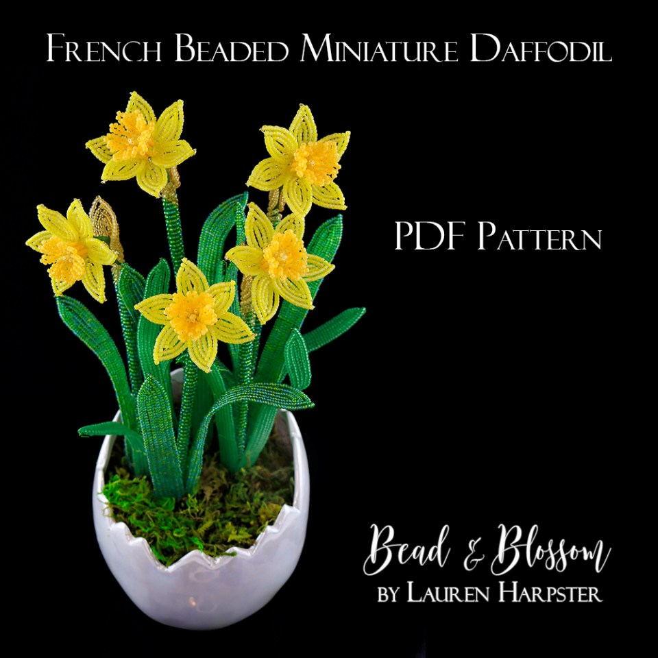 French Beaded Miniature Daffodil by Lauren Harpster