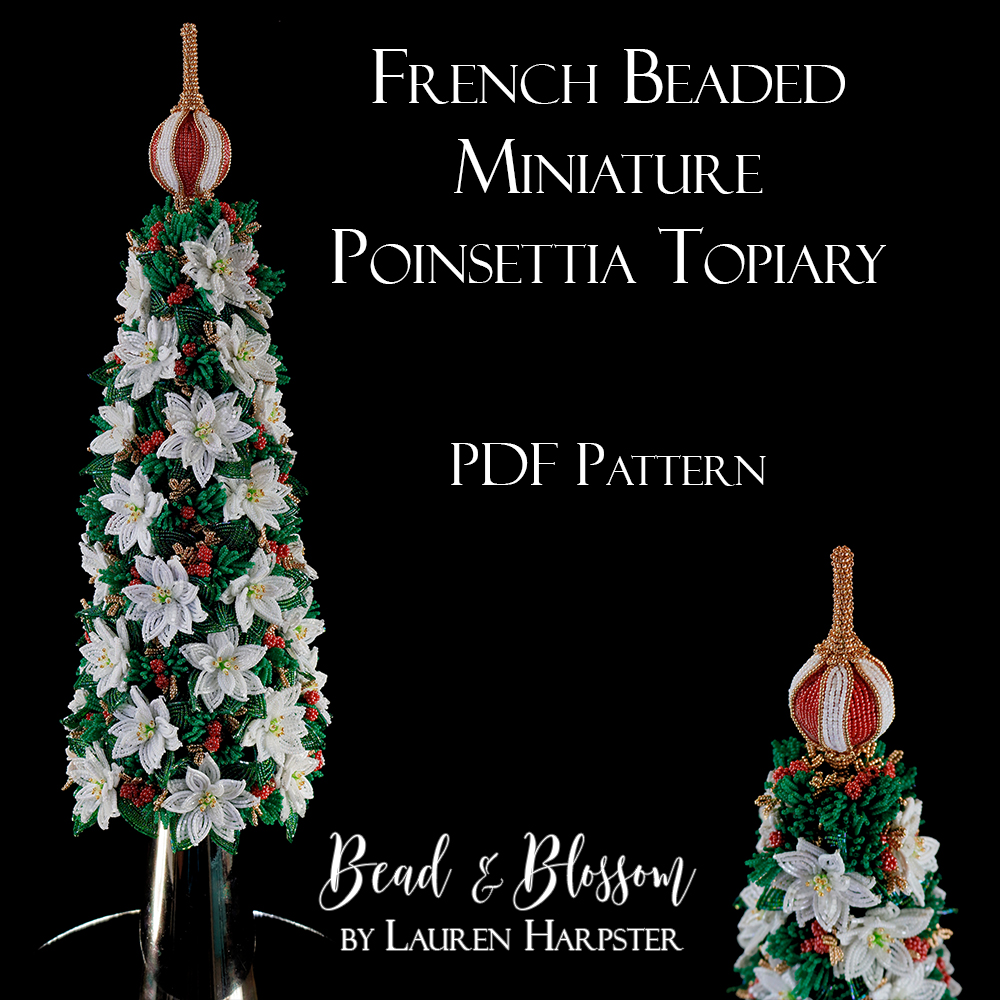 French Beaded Miniature Poinsettia Topiary by Lauren Harpster
