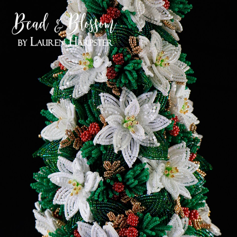 French Beaded Mini Poinsettia Topiary by Lauren Harpster
