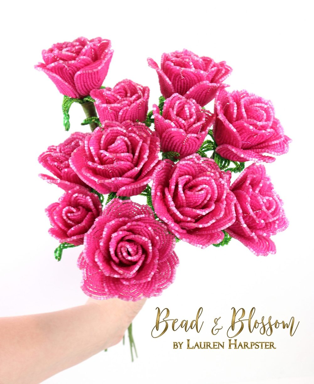 french beaded Sweetheart roses by Lauren Harpster
