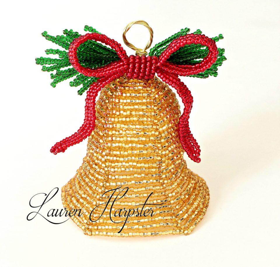 French Beaded Bell Ornament by Lauren Harpster