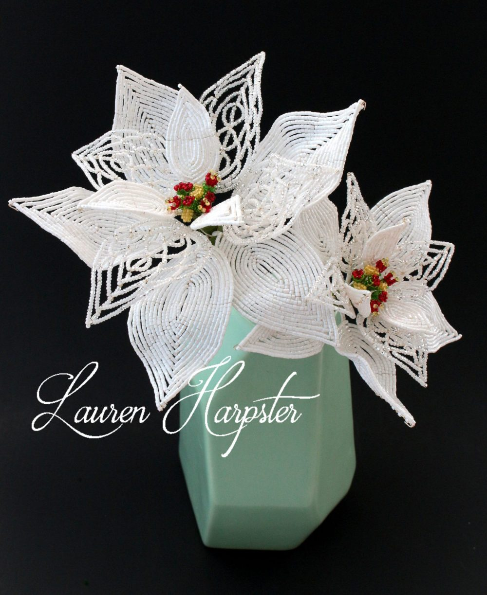 French Beaded Poinsettia by Lauren Harpster