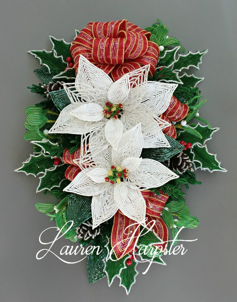 French Beaded Poinsettia swag by Lauren Harpster