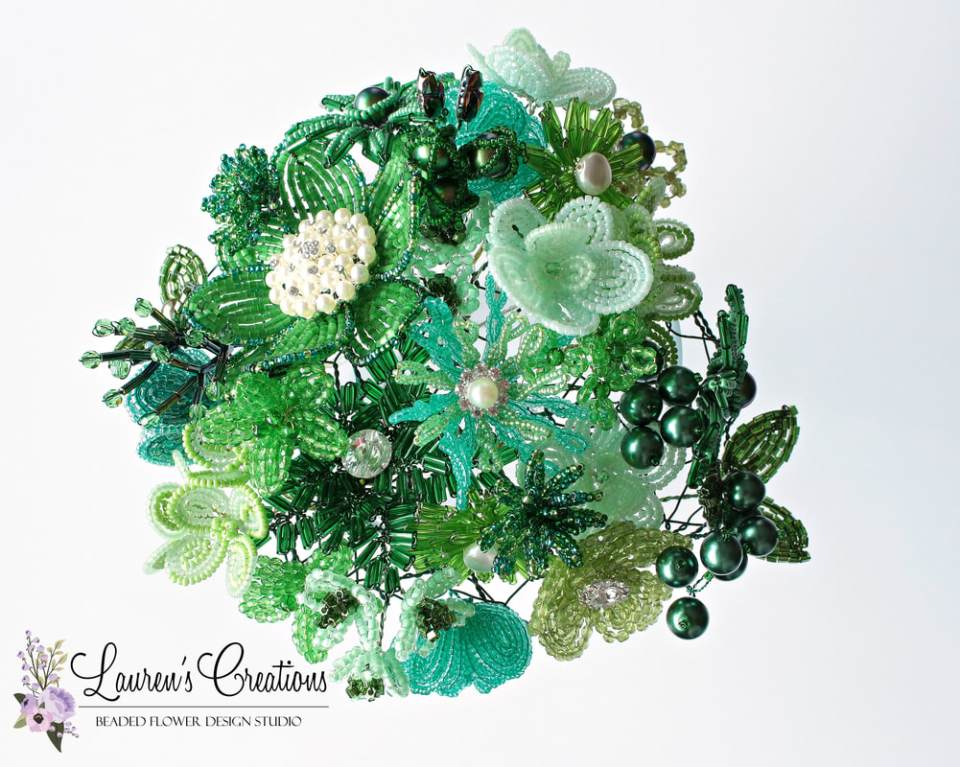 green french beaded flowers by Lauren Harpster