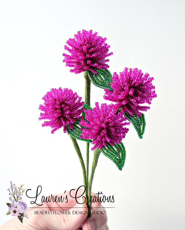 French Beaded Globe Amaranth by Lauren Hapster