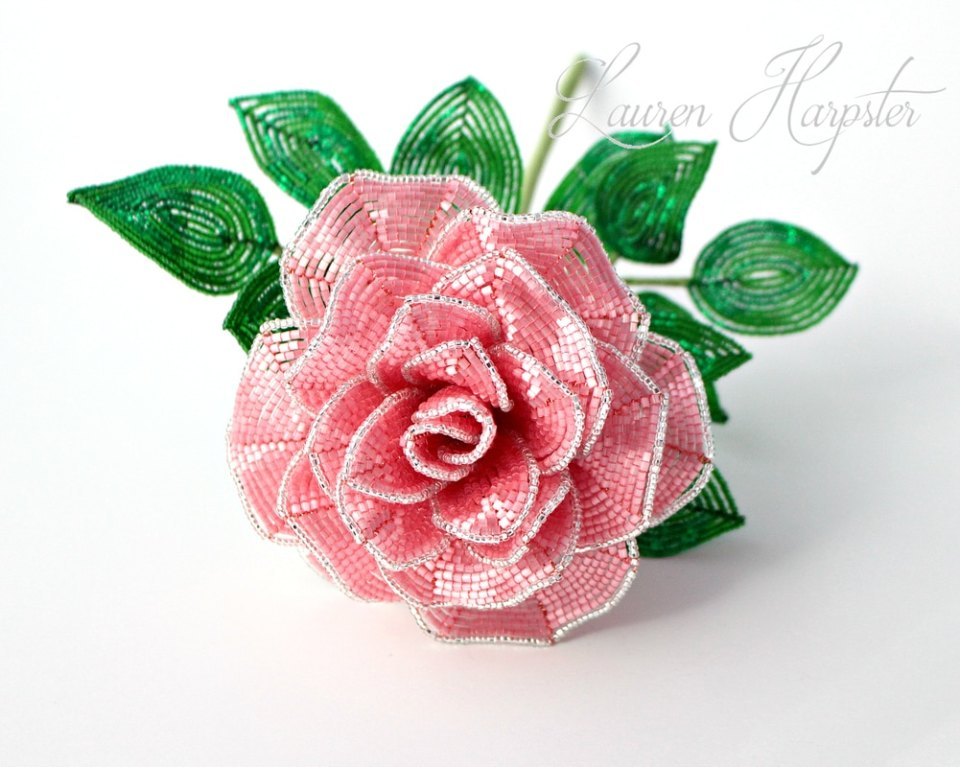 French Beaded Rose by Lauren Harpster