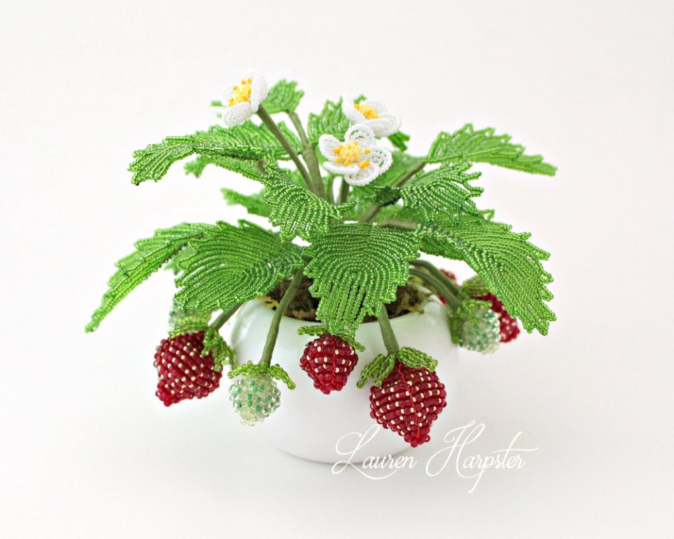 French Beaded strawberry plant by Lauren Harpster