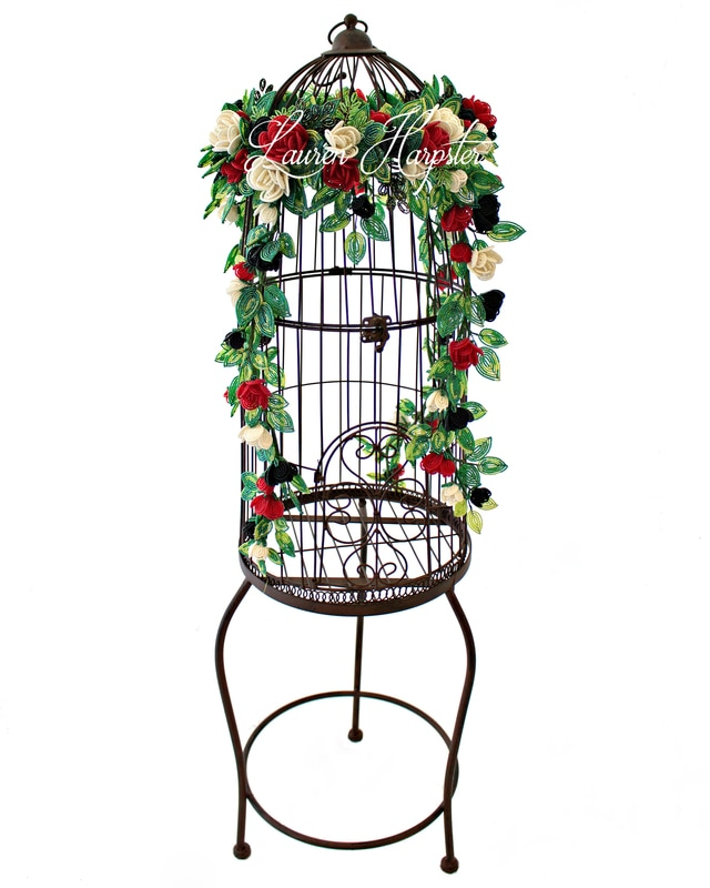 French Beaded Miniature Rose birdcage vine by Lauren Harpster
