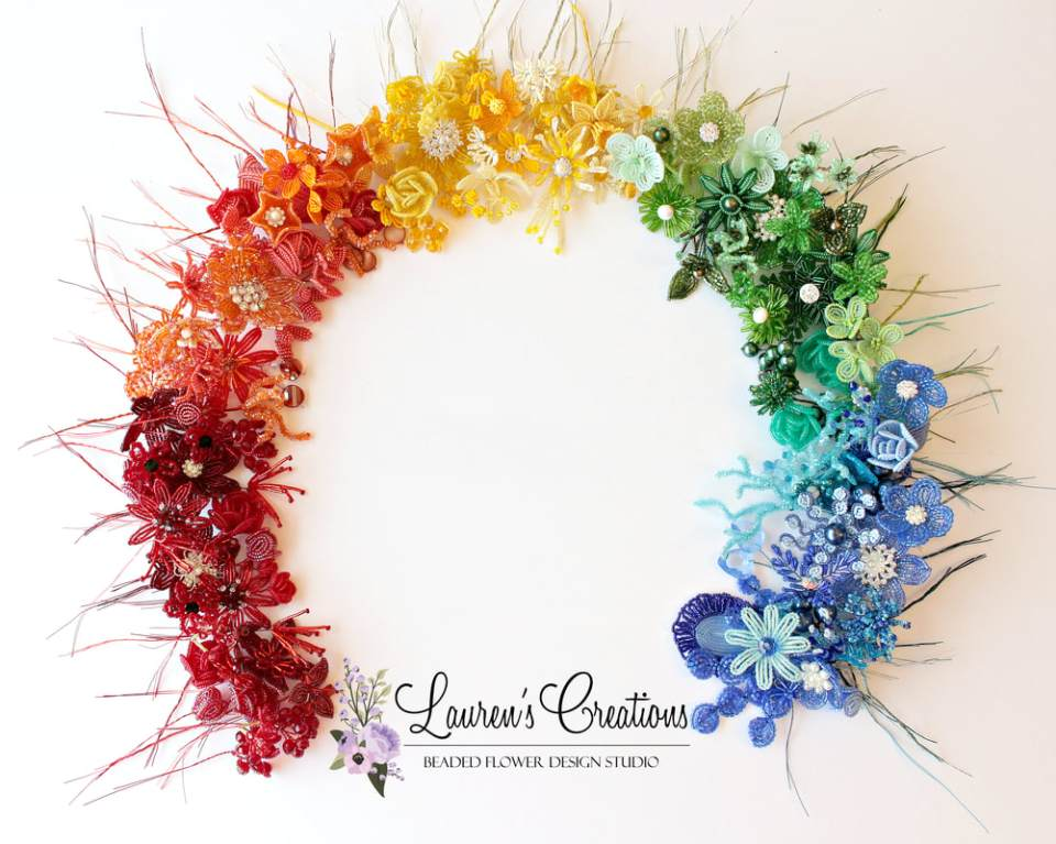 French Beaded Flowers by Lauren Harpster. Work in progress on a color wheel wreath.