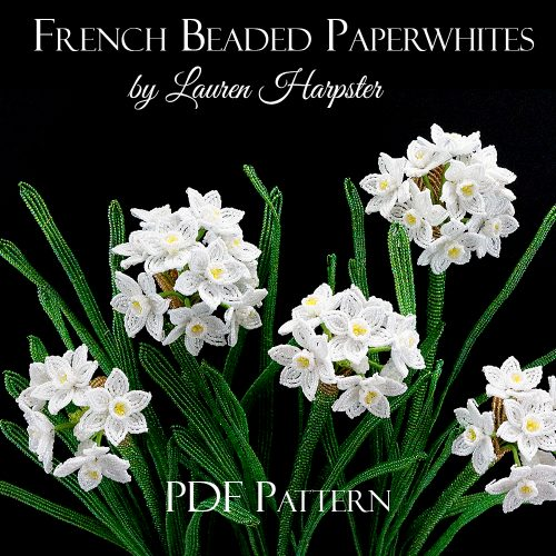 French Beaded Paperwhite Pattern by Lauren Harpster
