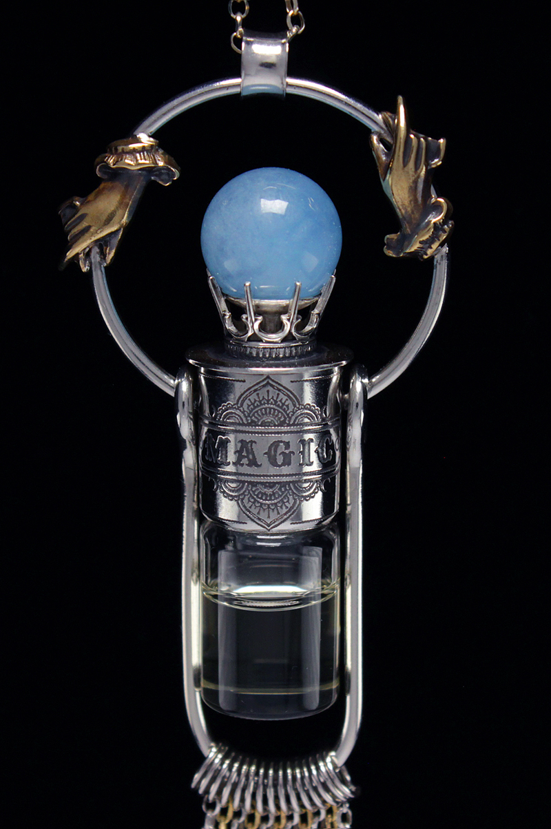 Crystal Ball Rollerball Necklace with Aquamarine