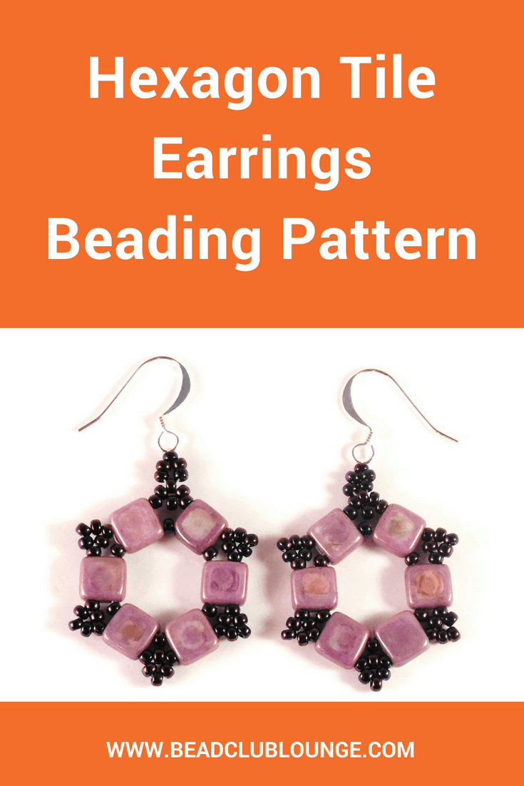Make these fun Hexagon Tile earrings using a combination of Czech Tile beads and seed beads.