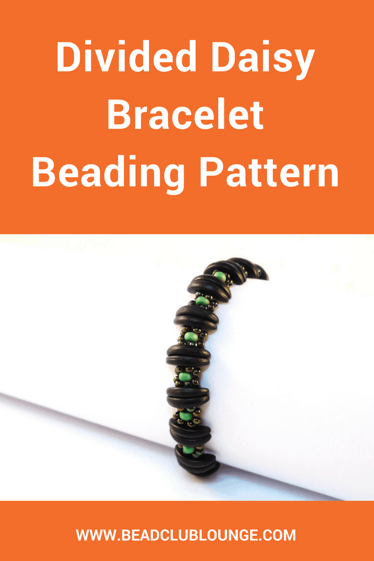 The Divided Daisy Bracelet is simple beginner beading pattern reminiscent of a Daisy Chain bracelet separated into segments by Crescent beads.