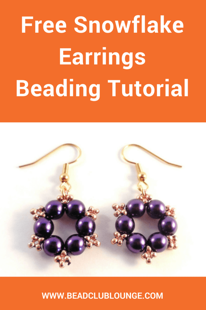 The Snowflake Earrings tutorial is a free beginner Christmas beading pattern. Use it to create your own pair of beaded earrings for the holidays!