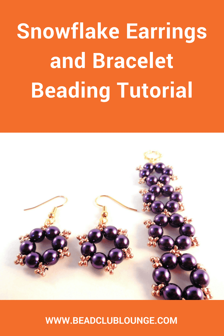 Add some festive flair to your beaded jewelry with the Snowflake Earrings and Bracelet Christmas beading pattern. It's simple enough for beginners.