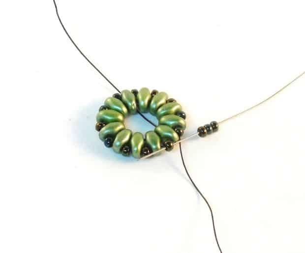 Step 6 of Starburst Earrings Tutorial- Simple Free Beaded Earring Pattern