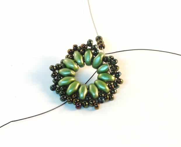 Step 7 of Starburst Earrings Tutorial- Simple Free Beaded Earring Pattern